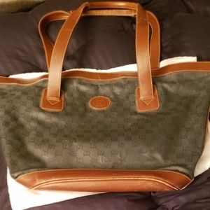 Gucci Vintage and Canvas Leather Tote